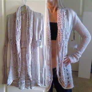 Willow & Clay Long Open-Knit Cardigan Taupe