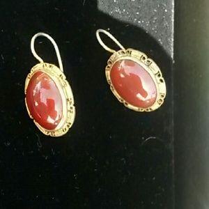 Carnelian Vermeil Gold Plated Earings