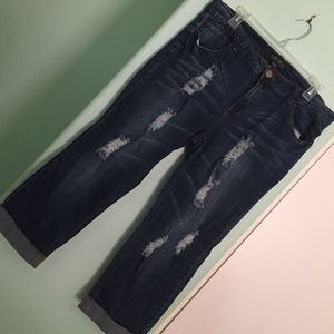 Forever 21 Denim - Distressed Cropped Jeans