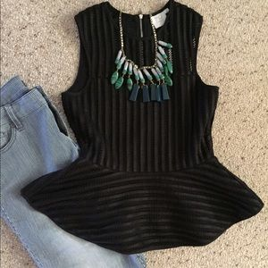 Brand New! Anthropologie black mesh peplum top