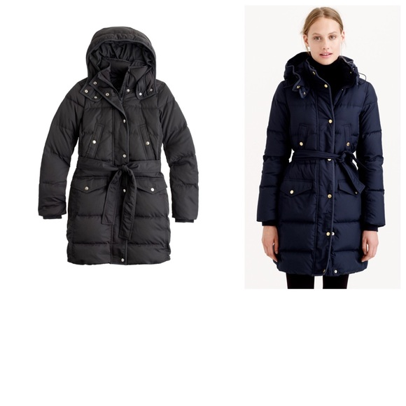 c288c2a596a J. Crew Outerwear - J. Crew Long Belted Down Puffer Coat in Black