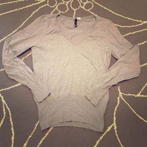Grey knit v-neck sweater