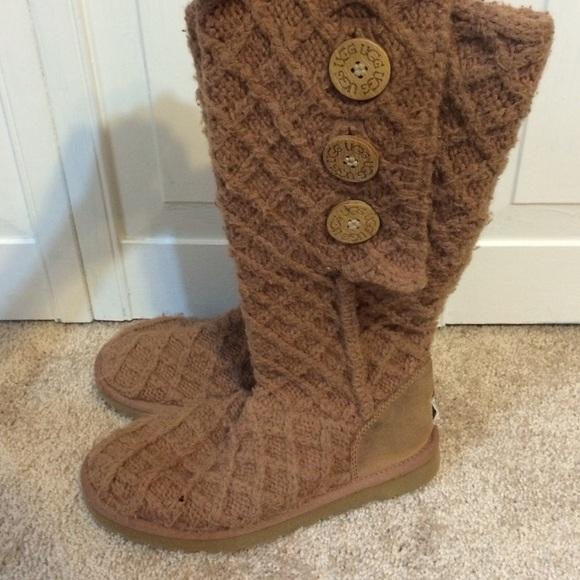 Ugg Shoes Brown Crochet Boots Poshmark