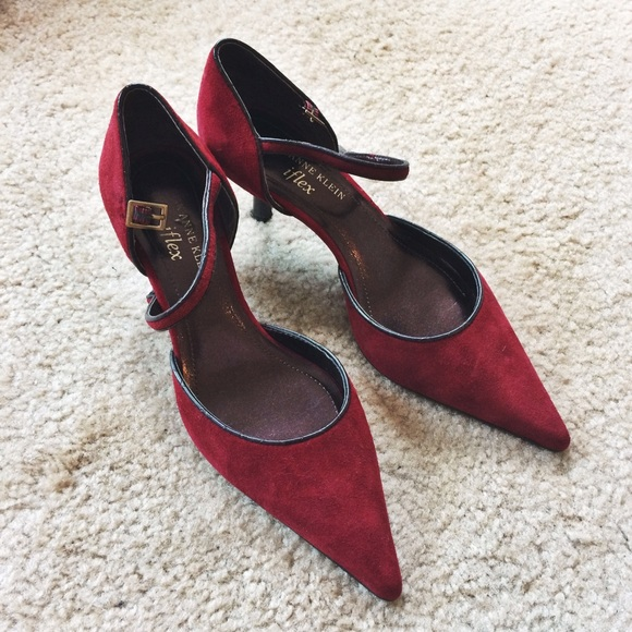 71% off Anne Klein Shoes - Anne Klein Burgundy Suede Kitten Heels ...
