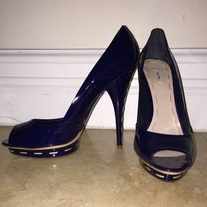 Mini Miu Blue Patent Leather Whipstich Pump 10 NWT