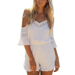 New White Romper Off Shoulder Embroidered Sleeve❤️
