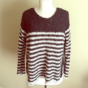 Free People Striped Crochet Pullover Sweater S