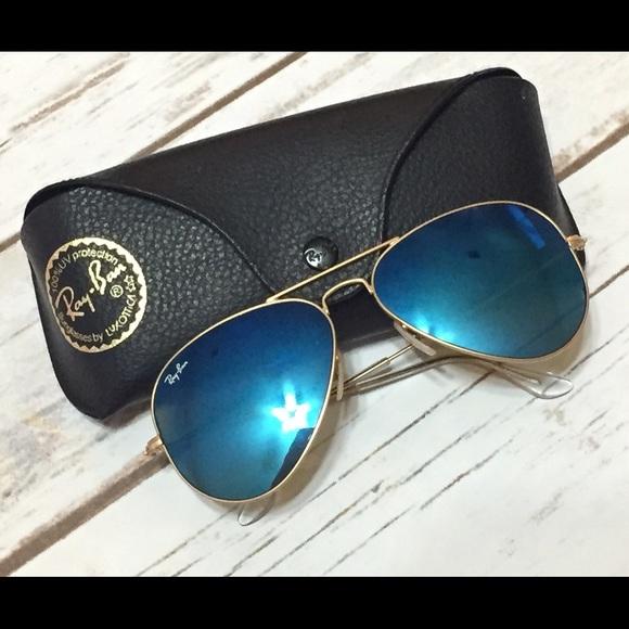 009ce8953f5 Ray Ban Blue Mirror Aviator Sunglasses Gold. M 55e22df85a49d09e9c007297