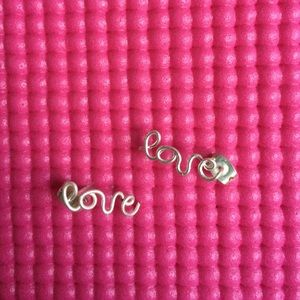 Jewelry - Sterling silver plated wire handmade LOVE earrings