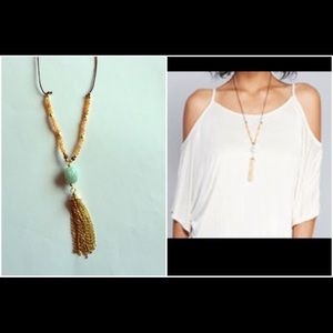 Jewelry - NWT beaded suede with fringe long necklace