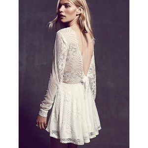 Lolo Lace Long Sleeve Tie Back Dress - White