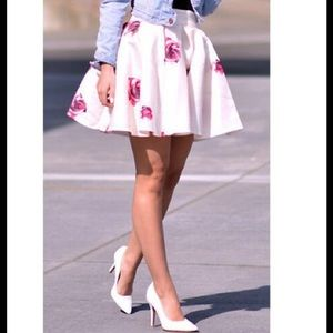 White & Pink Floral Flare Skater Pleated Skirt🌸