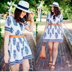 Chicwish Navy Floral Dress