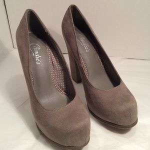 NEW. Taupe suede shoes