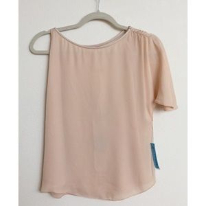 ALICE + OLIVIA Peach-Nude Silk Flutter Top