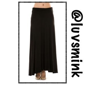 MaiTai Dresses & Skirts - BLACK MAXI SKIRT WITH FOLD OVER WAIST - LARGE