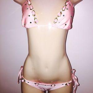 Cynababy swimwear Other - Pink rose & rhinestone bikini