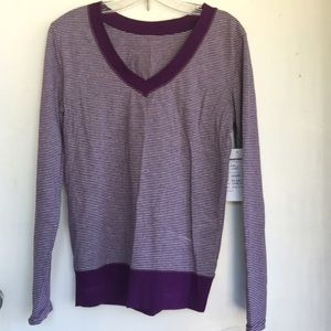 Tops - Purple/grey Striped V-Neck LS Tee