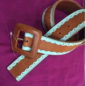Accessories - Brown  & blue studded genuine leather belt