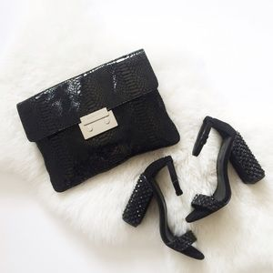Michael Kors Black Snakeskin Oversized Clutch