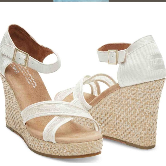 73% off TOMS Shoes - Toms White Lace Grosgrain Wedge Sandals from ...