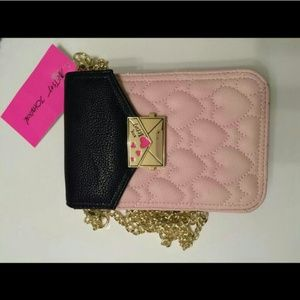 NWT Betsey Johnson quilted pink heart crossbody