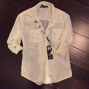 Long sleeve semi sheer blouse