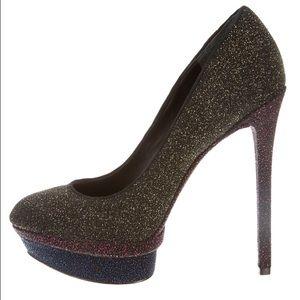 B Brian Atwood Shoes - B Brian Atwood Fontanne Glitter Platform Pumps