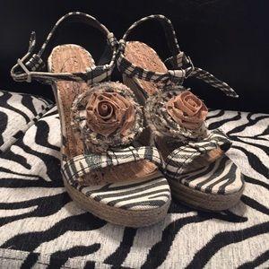 naughty monkey Shoes - PRICE LOWERED! Naughty Monkey Zebra Print Wedges