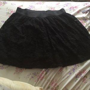 Black crotchet floral skirt