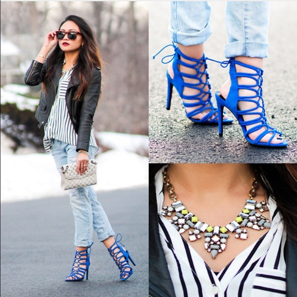 Zara - Zara Cobalt Blue Stappy High Heel Lace Up Sandals from Ty&39s