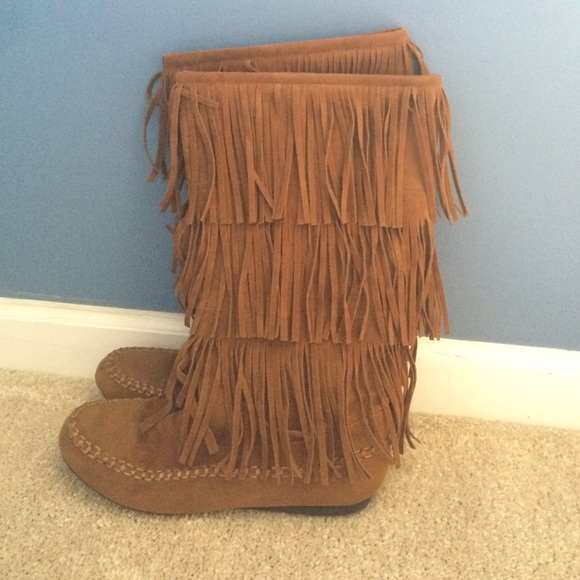 64% off Hot Cakes Shoes - Brown Suede Fringe Boots from Paula's ...