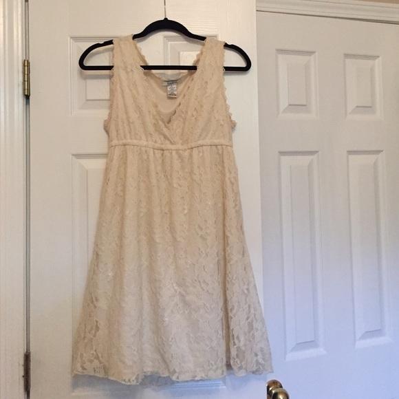 547c9e852 Pinky Dresses | Cream Lace Sun Dress Juniors Size L | Poshmark