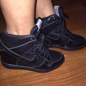 Women's Nike Dunk Sky Hi Black Snake Skin (wedge)