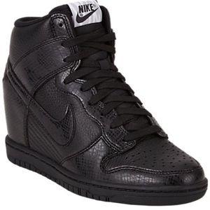 outlet store 55863 b3ded Nike Shoes - Women s Nike Dunk Sky Hi Black Snake Skin (wedge)