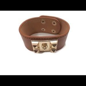 Urban Fashion Buckle Gold Brown Leather Bracelet