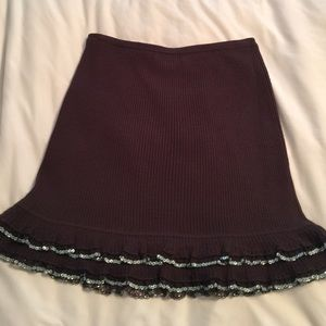 Brown beaded wool skirt by Betsey Johnson