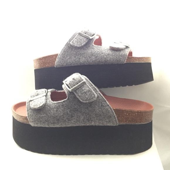 b87761fa6f7 Sixtyseven Grey Felt Indigo Platform Sandals