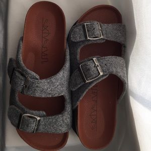54b33f3c06a7 Sixtyseven Shoes - Sixtyseven Grey Felt Indigo Platform Sandals