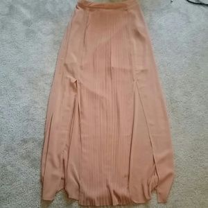 Pleated sheer maxi skirt