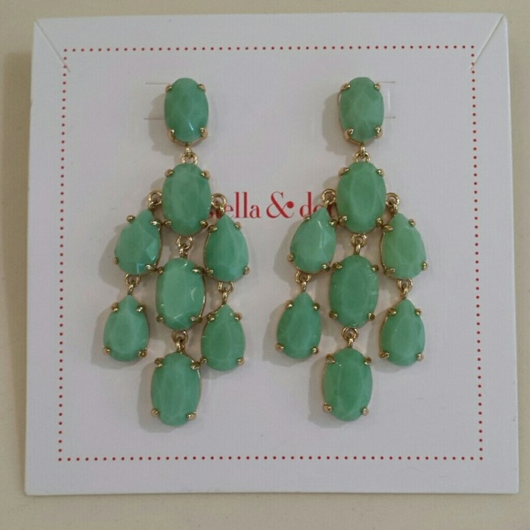 Stella Dot Pale Green Chandelier Earrings