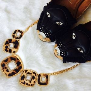 Jewelry - Leopard Print and Crystal Square Gold Necklace