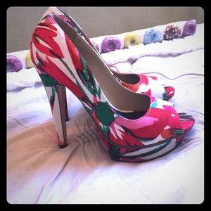 JustFab Shoes - JustFab Watercolor Floral Pumps