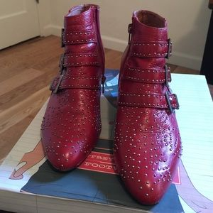 Jeffrey Campbell starburst stud boot - red