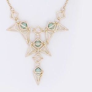 Gold geometric mint color statement necklace new