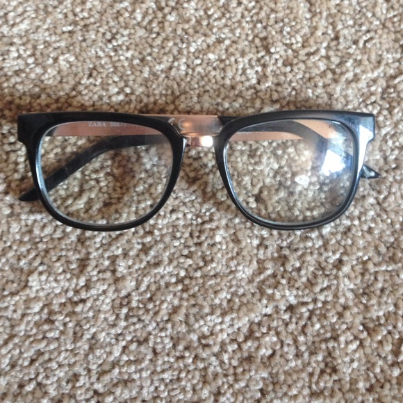 75a39ad0f4cb Zara Accessories | Gold And Black Glasses With Clear Lenses | Poshmark