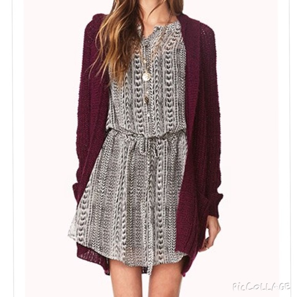 13% off Forever 21 Sweaters - Maroon Cozy Hooded Open-Knit ...