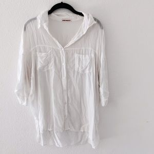 Brandy Melville Tops - Brandy Melville White Slouchy Button Up