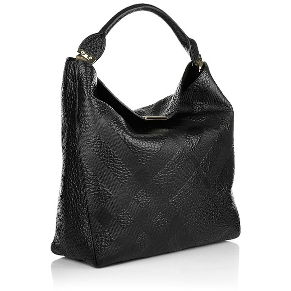 c8384765 Burberry Bags | Check Embossed Lindburn Hobo Bag Black | Poshmark