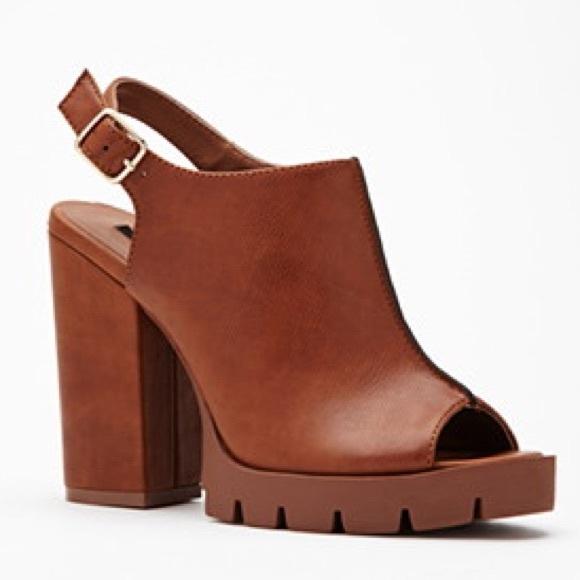 e83cac34f0b Forever 21 Shoes - Faux Leather Peep Toe Slingbacks - tan